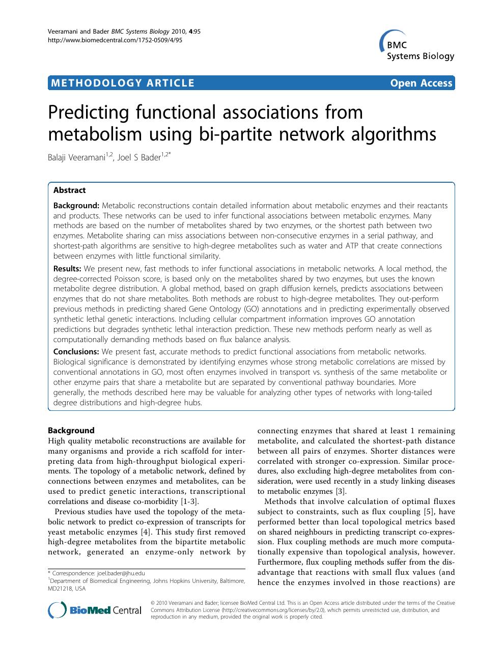 Predicting functional associations from metabolism using bi
