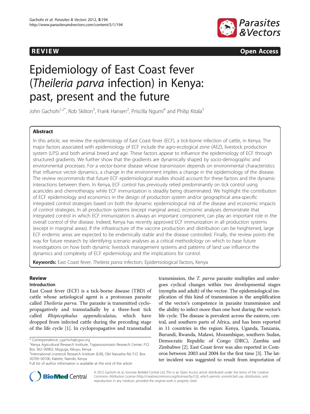 Epidemiology of East Coast fever (Theileria parva infection