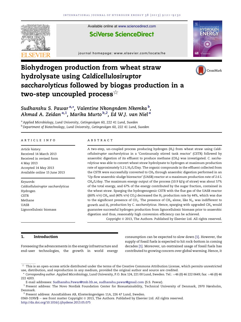 Biohydrogen production from wheat straw hydrolysate using