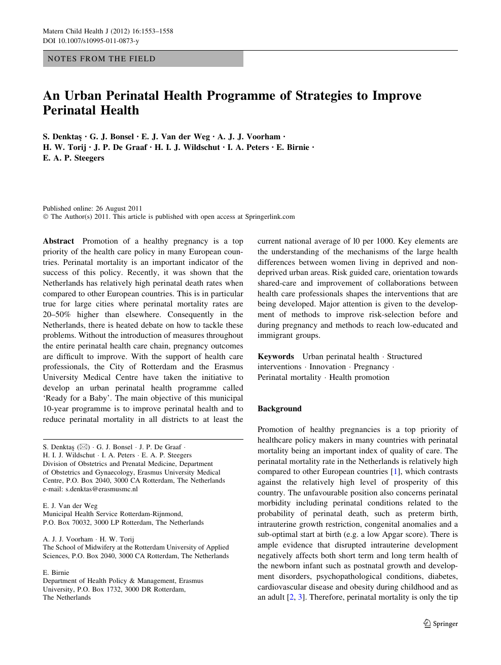 An Urban Perinatal Health Programme of Strategies to Improve