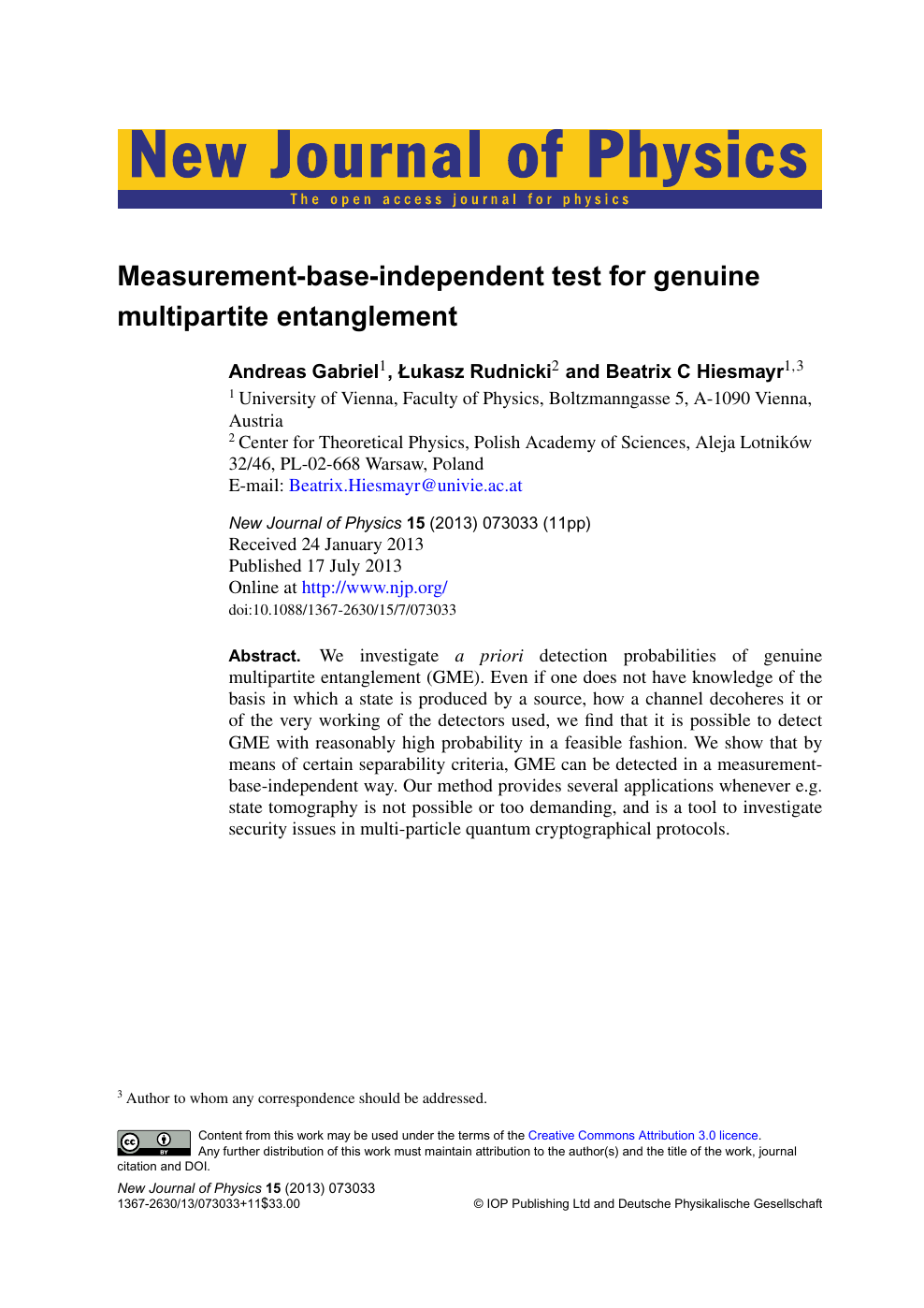 Measurement-base-independent test for genuine multipartite