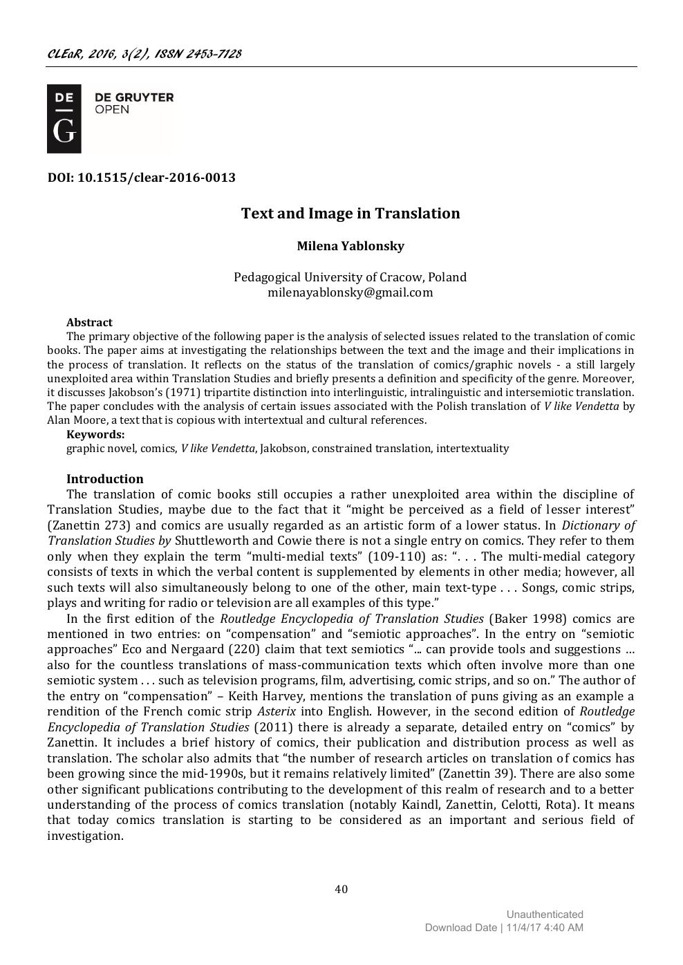 Text and Image in Translation – topic of research paper in