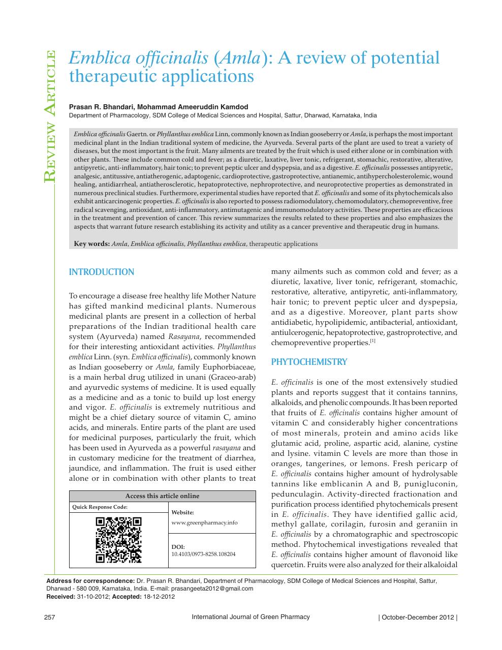 Emblica officinalis ( Amla ): A review of potential