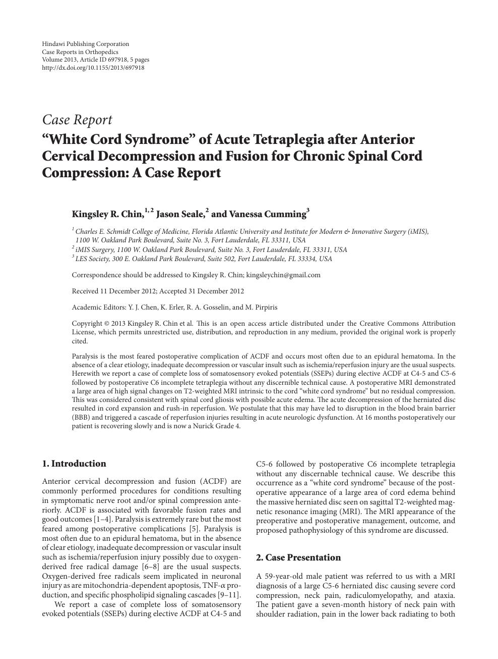 """White Cord Syndrome"""" of Acute Tetraplegia after Anterior"""