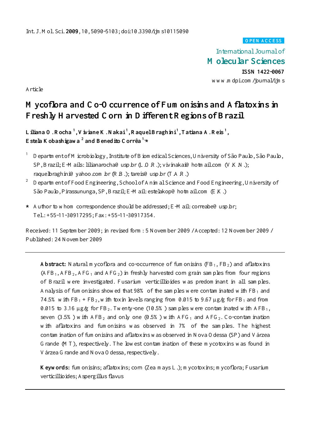 Mycoflora and Co-Occurrence of Fumonisins and Aflatoxins in