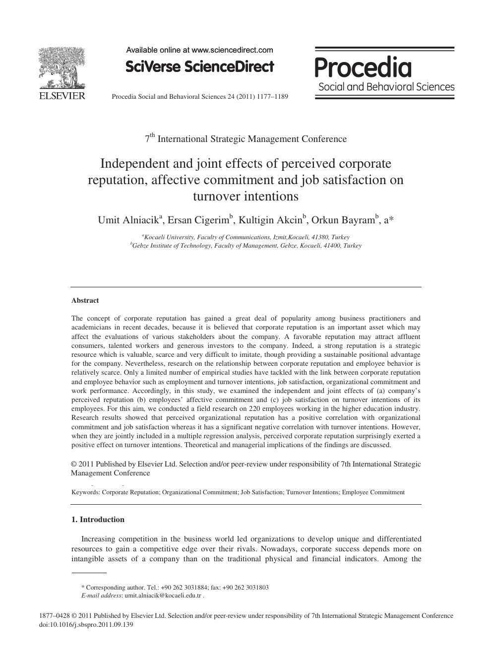 Independent and joint effects of perceived corporate reputation