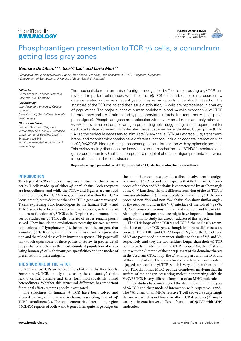 Phosphoantigen Presentation to TCR γδ Cells, a Conundrum