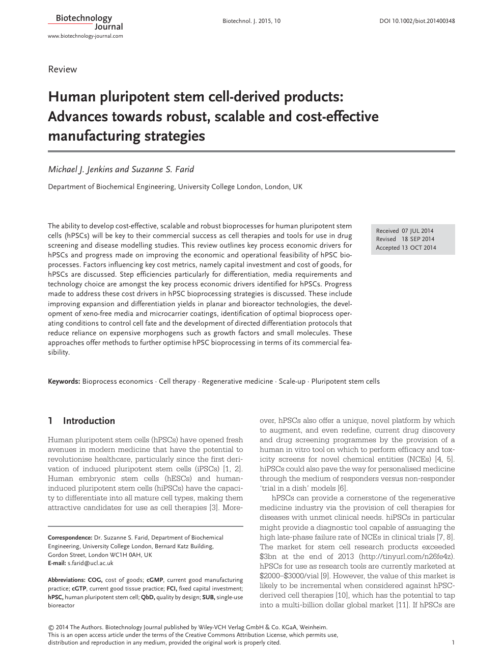 Human Pluripotent Stem Cell Derived Products Advances Towards Robust Scalable And Cost Effective Manufacturing Strategies Topic Of Research Paper In Biological Sciences Download Scholarly Article Pdf And Read For Free On Cyberleninka Open
