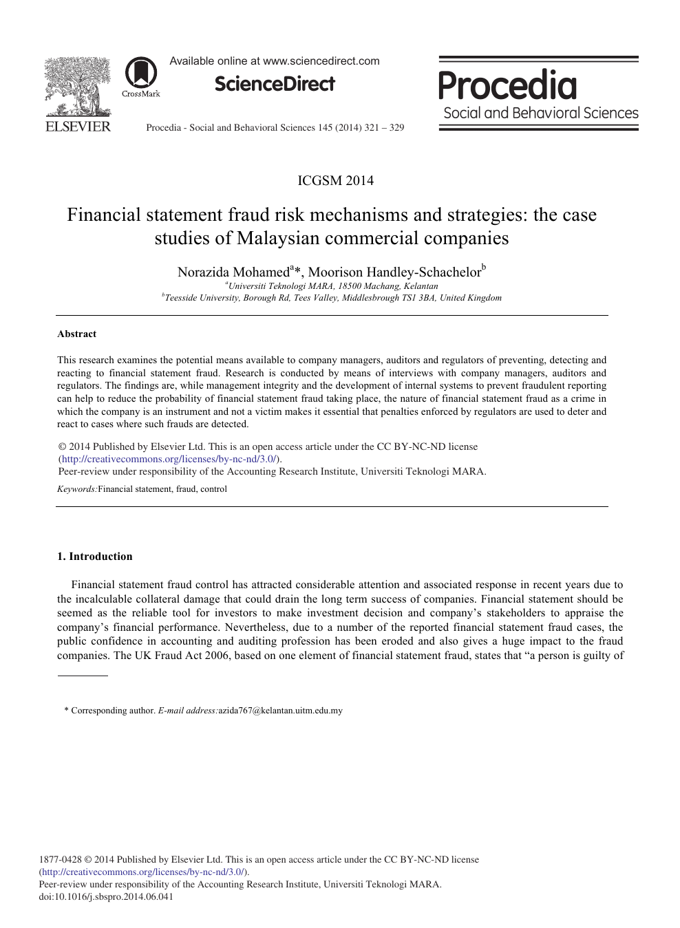 Financial Statement Fraud Risk Mechanisms And Strategies The Case Studies Of Malaysian Commercial Companies Topic Of Research Paper In Economics And Business Download Scholarly Article Pdf And Read For Free On