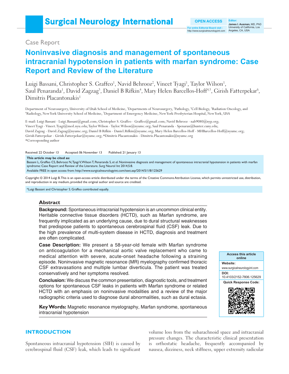 Noninvasive diagnosis and management of spontaneous intracranial