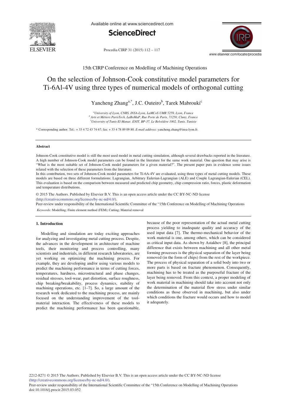 On the Selection of Johnson-cook Constitutive Model Parameters for