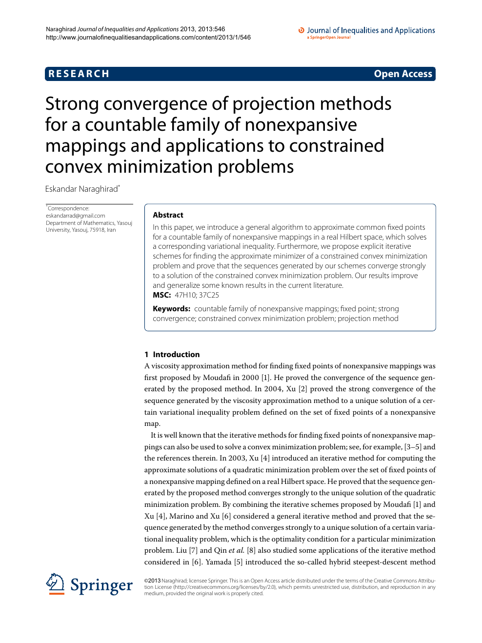 Strong convergence of projection methods for a countable