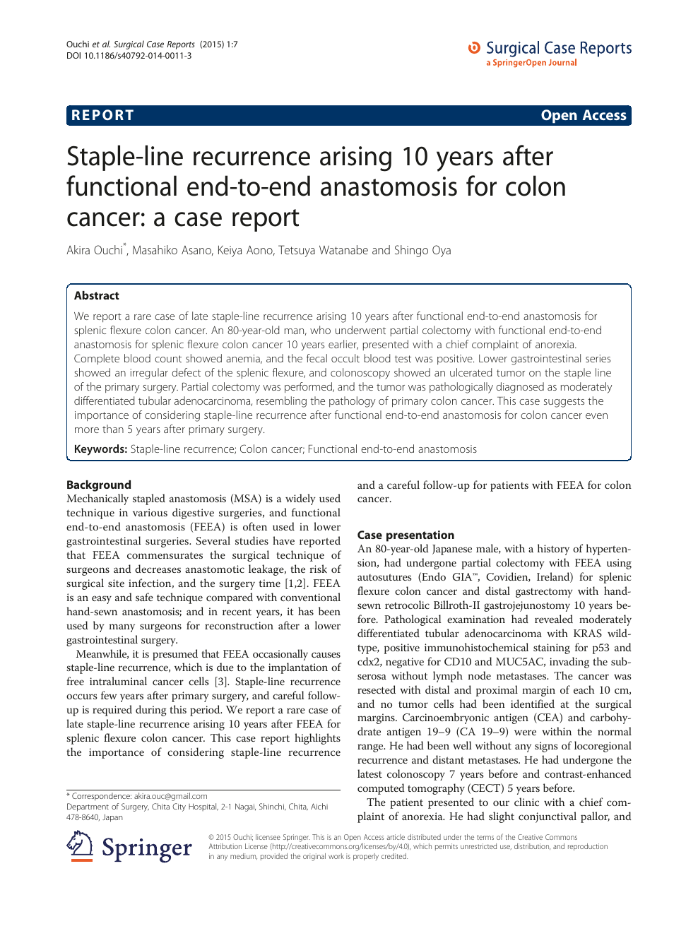 Staple Line Recurrence Arising 10 Years After Functional End To End Anastomosis For Colon Cancer A Case Report Topic Of Research Paper In Clinical Medicine Download Scholarly Article Pdf And Read For Free On