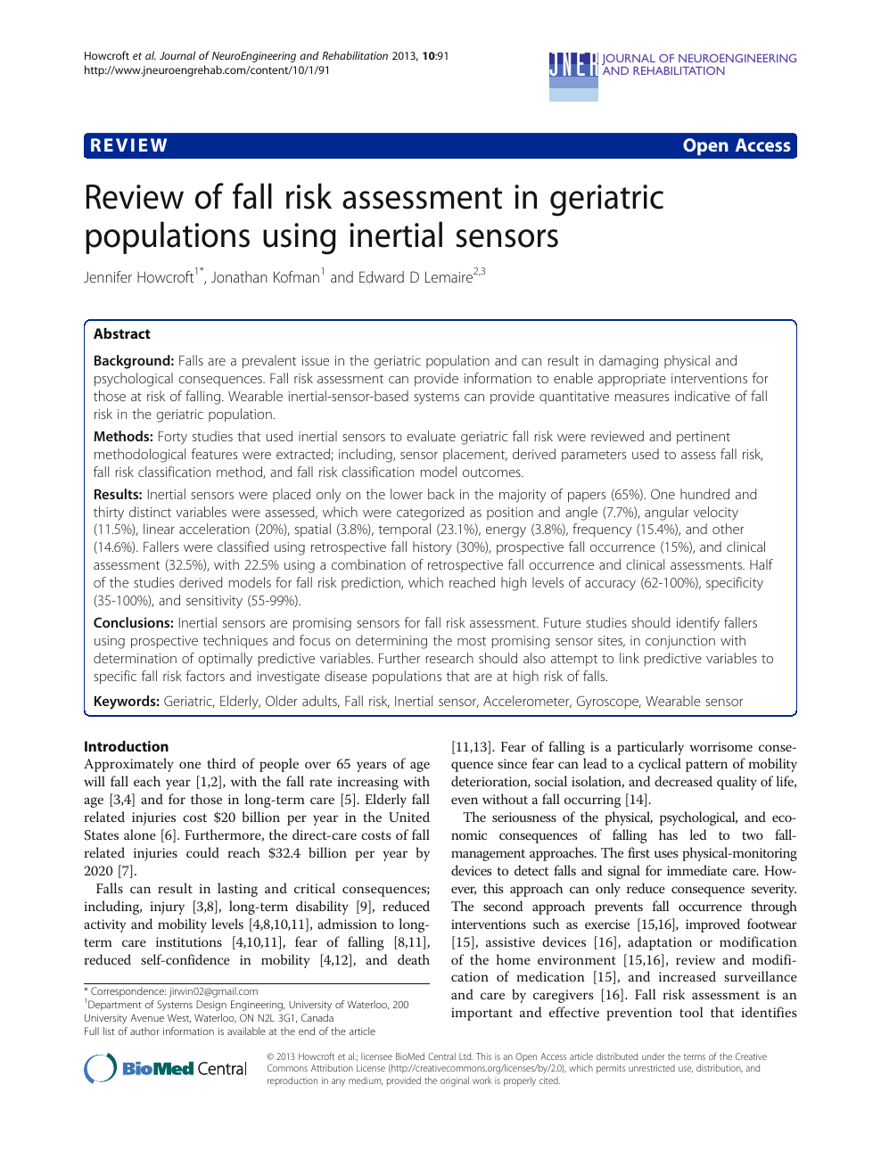 Review Of Fall Risk Assessment In Geriatric Populations Using Inertial Sensors Topic Of Research Paper In Medical Engineering Download Scholarly Article Pdf And Read For Free On Cyberleninka Open Science Hub