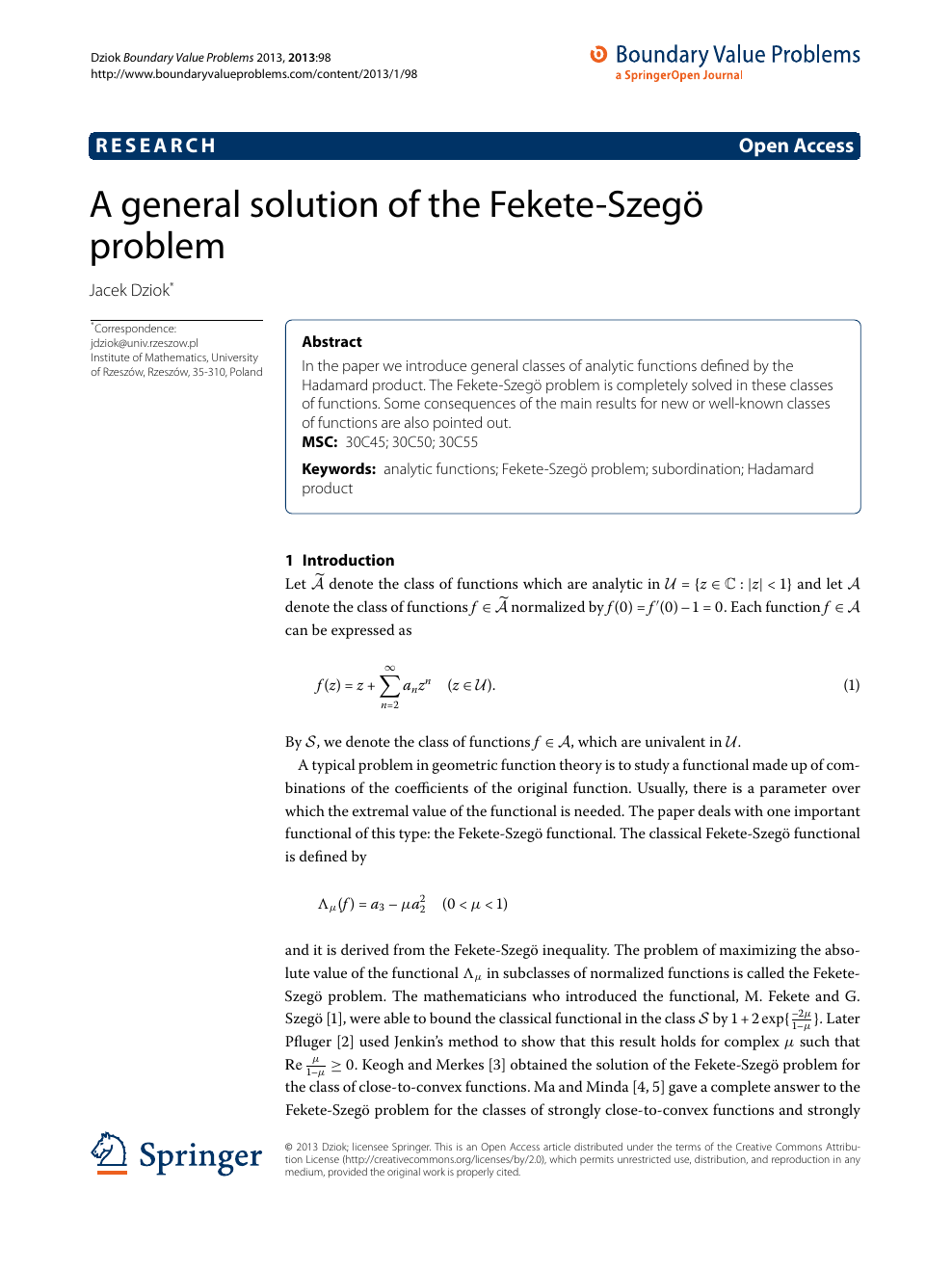 A general solution of the Fekete-Szegö problem – topic of research paper in  Mathematics. Download scholarly article PDF and read for free on  CyberLeninka open science hub.