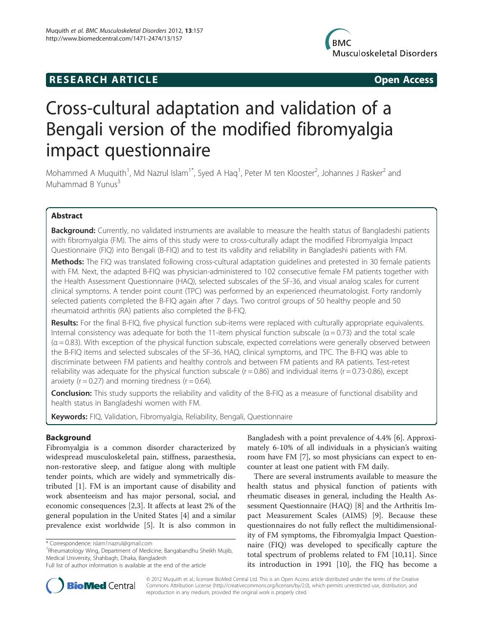 Cross-cultural adaptation and validation of a Bengali