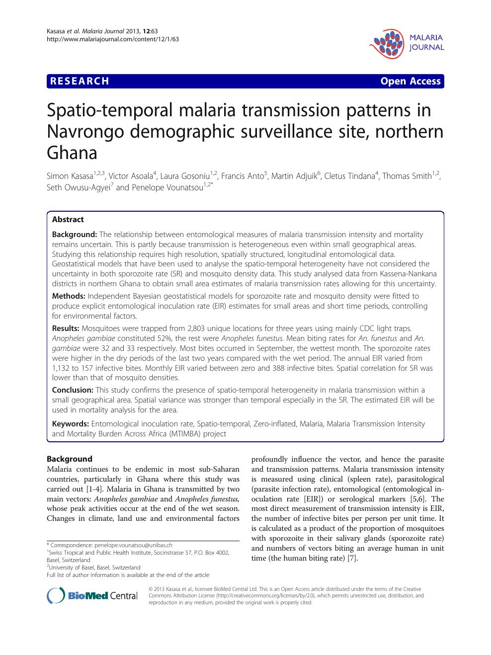 Spatio-temporal malaria transmission patterns in Navrongo