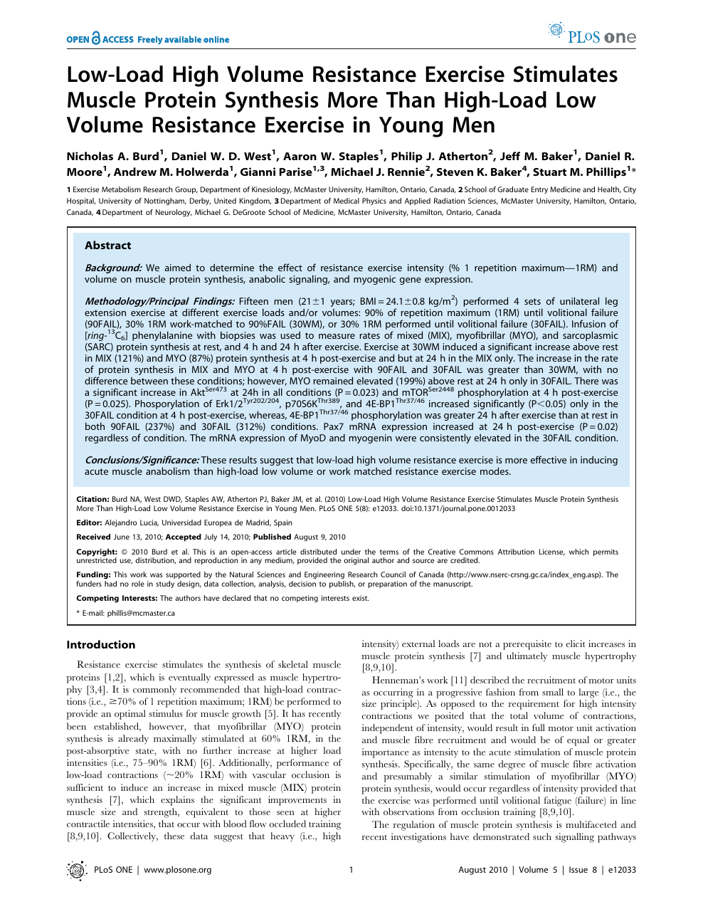 Low-Load High Volume Resistance Exercise Stimulates Muscle