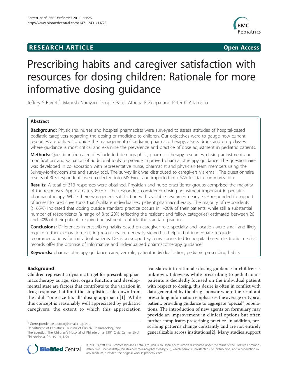 Prescribing habits and caregiver satisfaction with resources