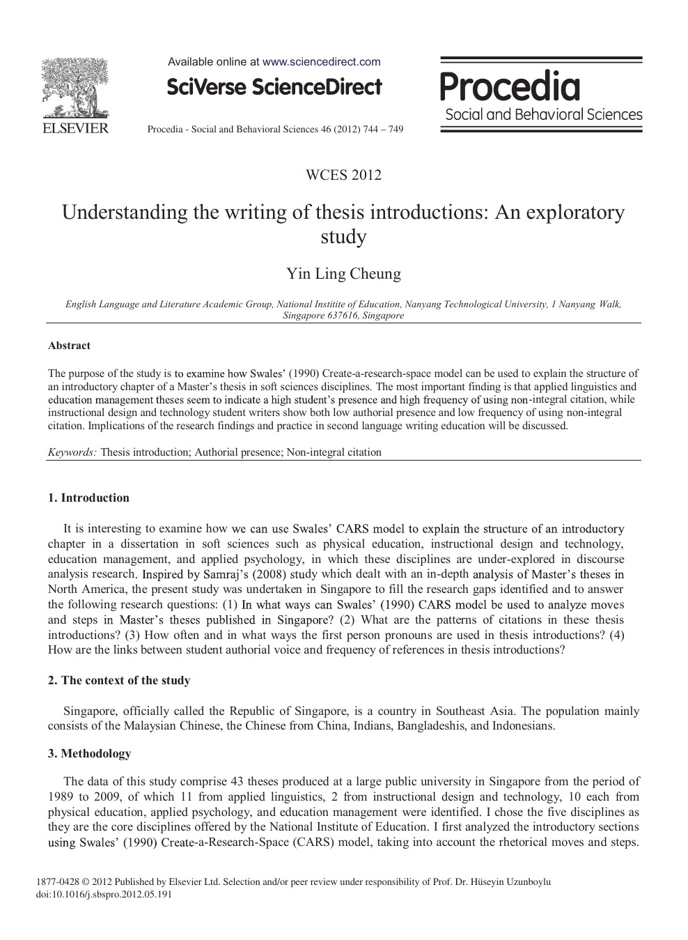 Understanding The Writing Of Thesis Introductions: An Exploratory Study –  Topic Of Research Paper In Educational Sciences. Download Scholarly Article  PDF And Read For Free On CyberLeninka Open Science Hub.