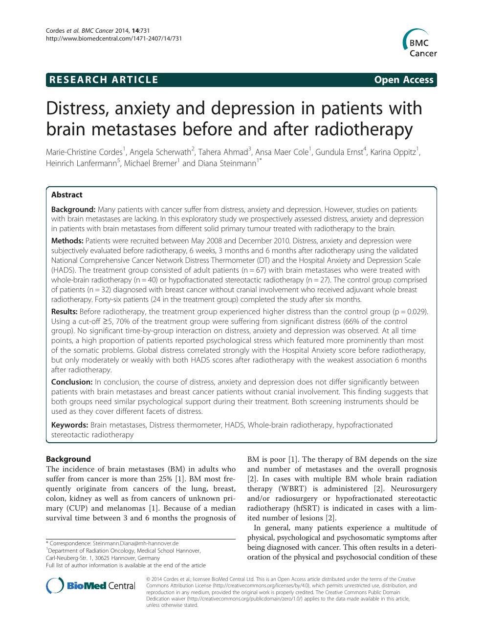 Distress Anxiety And Depression In Patients With Brain Metastases Before And After Radiotherapy Topic Of Research Paper In Clinical Medicine Download Scholarly Article Pdf And Read For Free On Cyberleninka Open