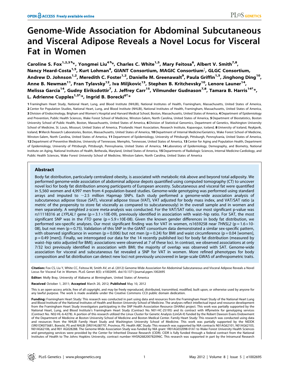 Genome-Wide Association for Abdominal Subcutaneous and