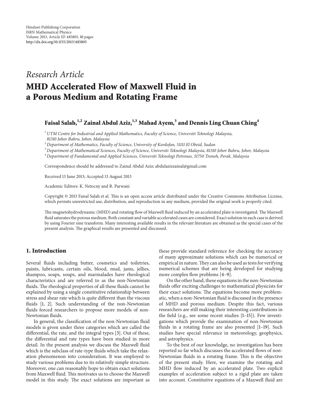 MHD Accelerated Flow of Maxwell Fluid in a Porous Medium and