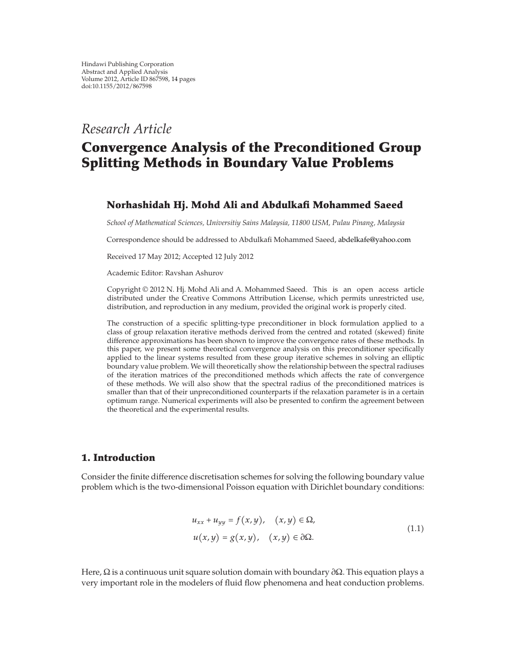 Convergence Analysis of the Preconditioned Group Splitting