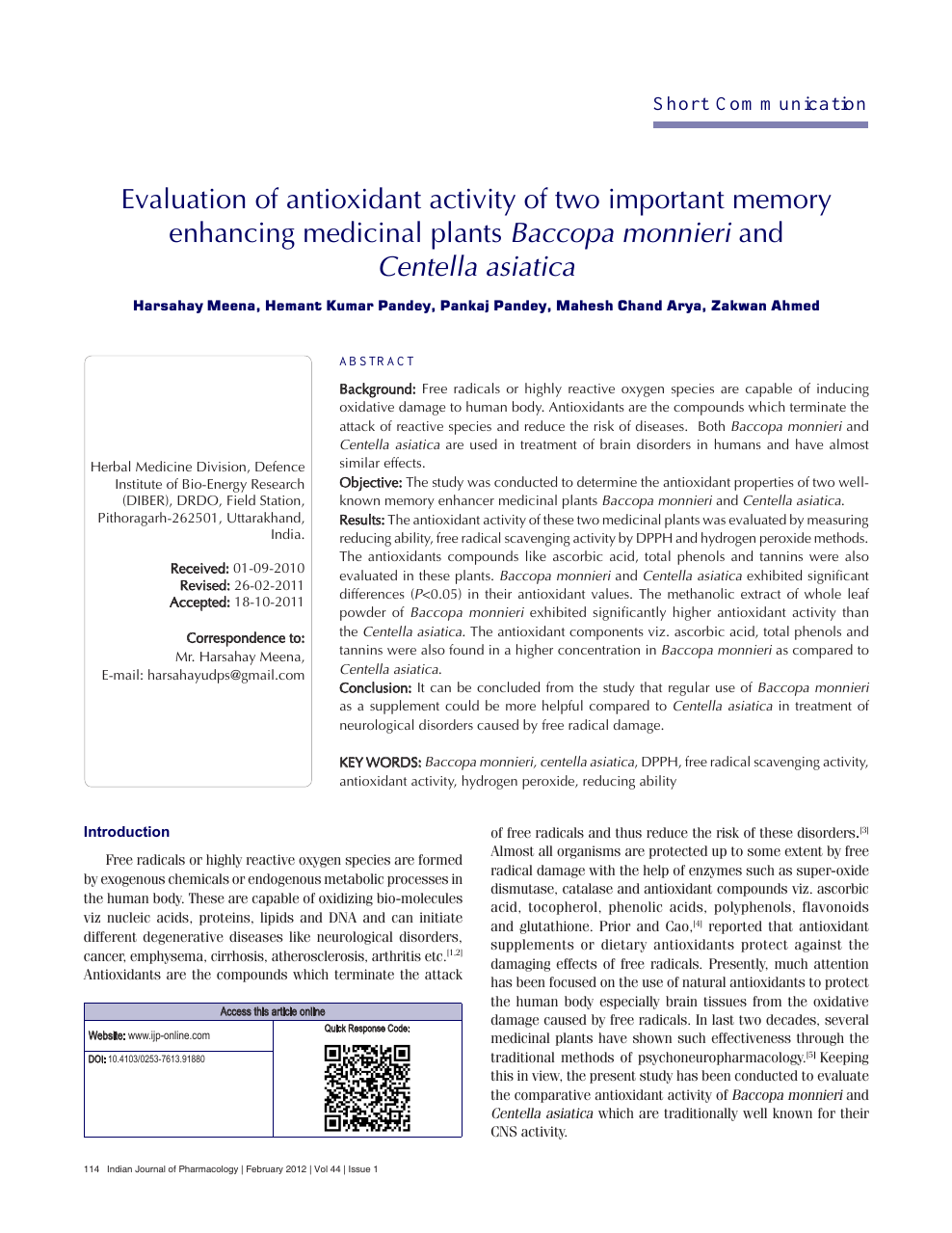 Evaluation of antioxidant activity of two important memory