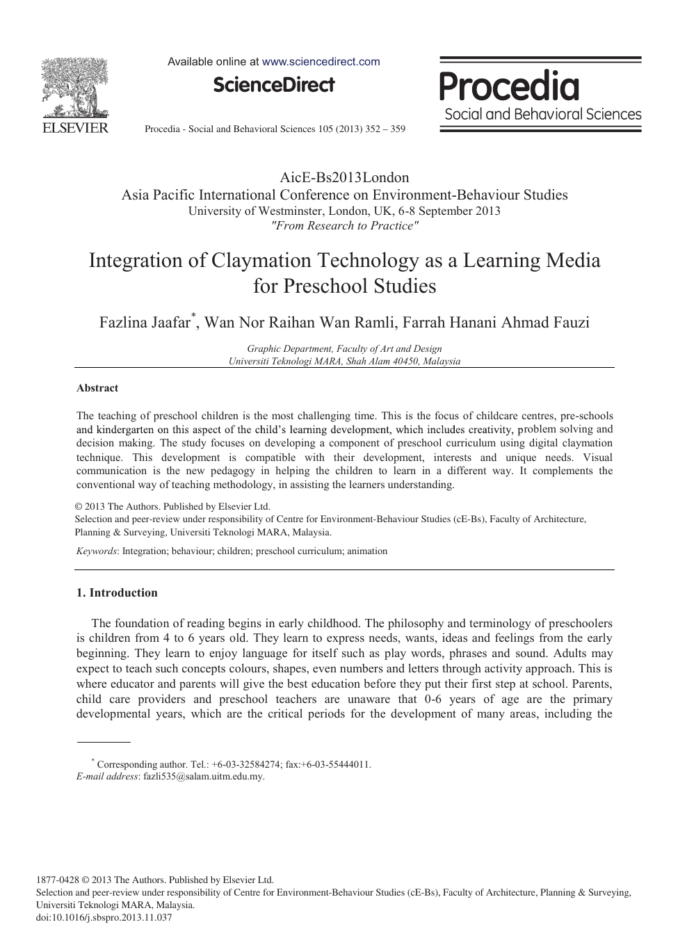 Integration of Claymation Technology as a Learning Media for