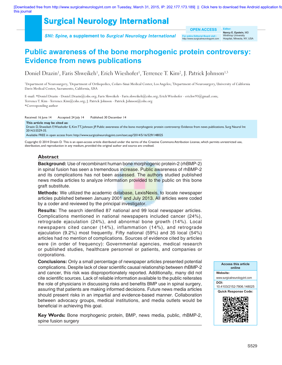 Public awareness of the bone morphogenic protein controversy