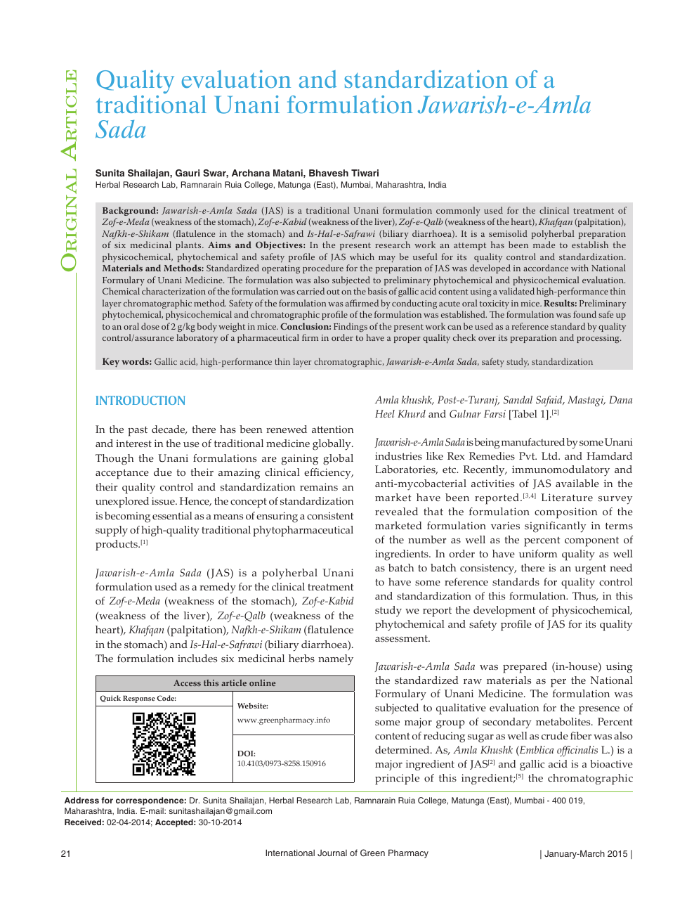 Quality evaluation and standardization of a traditional