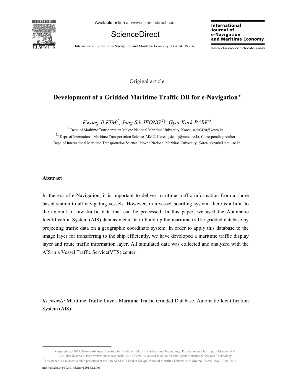 Development of a Gridded Maritime Traffic DB for e-Navigation1