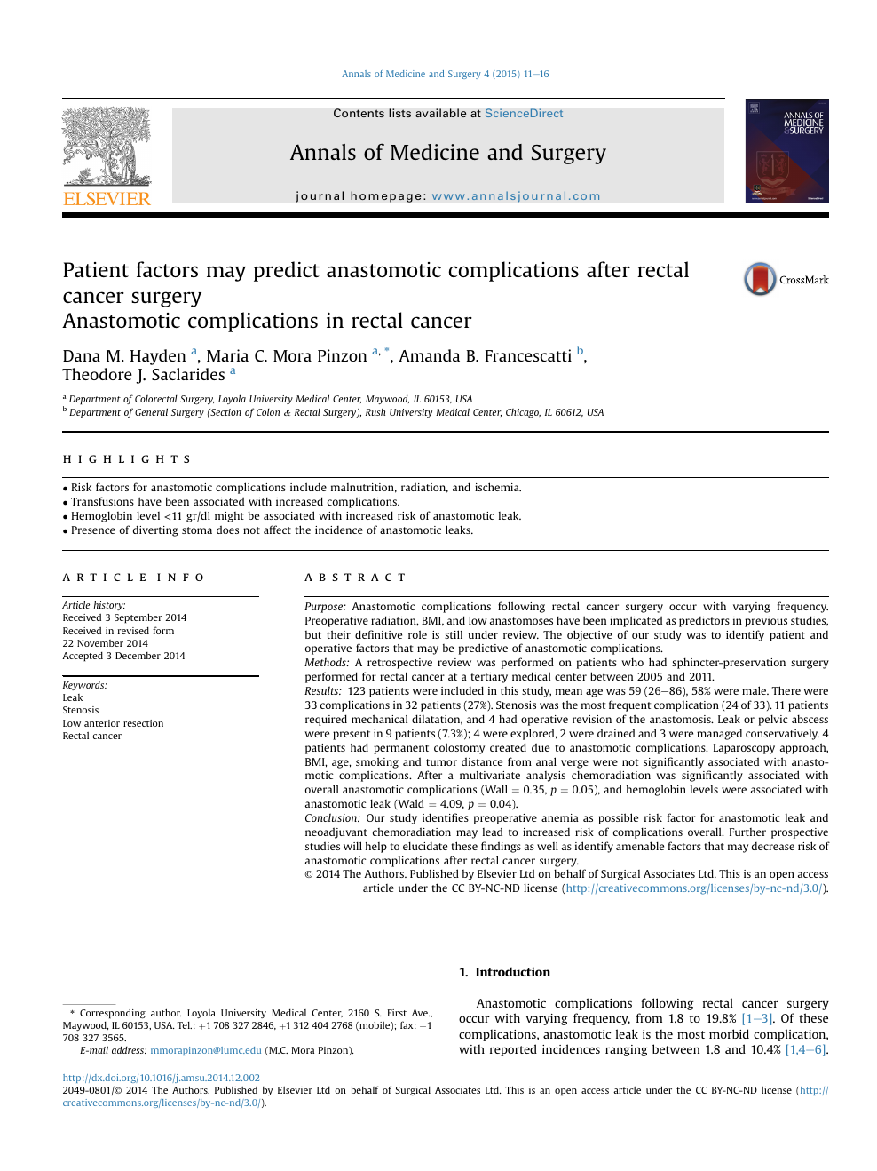 Patient Factors May Predict Anastomotic Complications After Rectal Cancer Surgery Topic Of Research Paper In Health Sciences Download Scholarly Article Pdf And Read For Free On Cyberleninka Open Science Hub