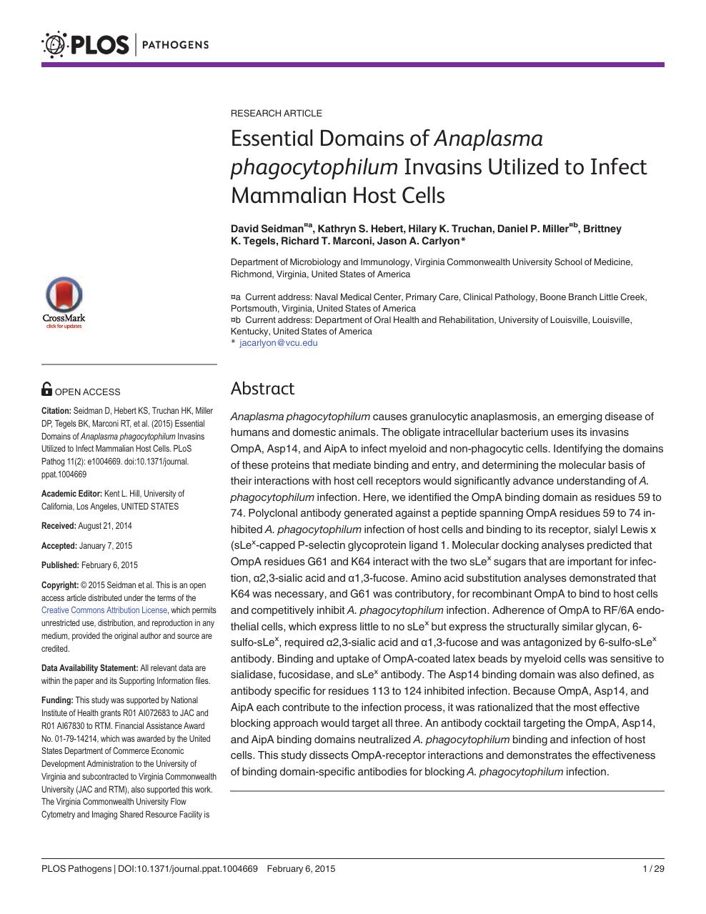 Essential Domains of Anaplasma phagocytophilum Invasins