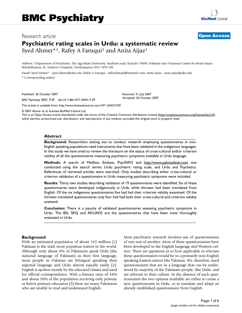 Psychiatric rating scales in Urdu: a systematic review