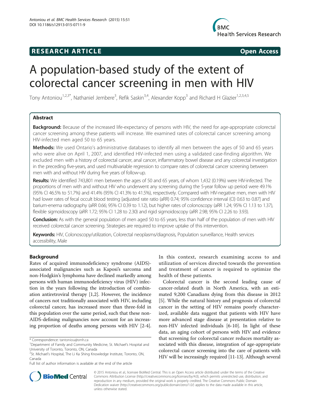 A Population Based Study Of The Extent Of Colorectal Cancer Screening In Men With Hiv Topic Of Research Paper In Clinical Medicine Download Scholarly Article Pdf And Read For Free On Cyberleninka