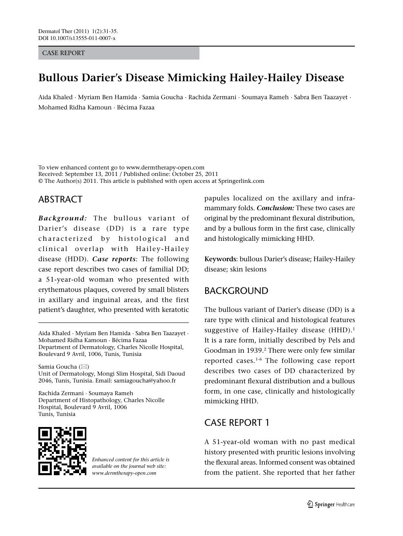 Bullous Darier's disease mimicking Hailey-Hailey disease – topic of