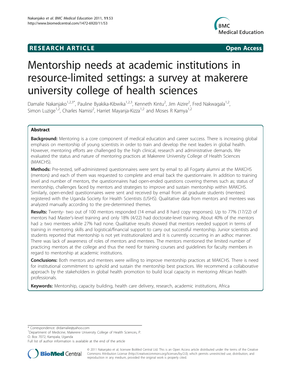 Mentorship needs at academic institutions in resource