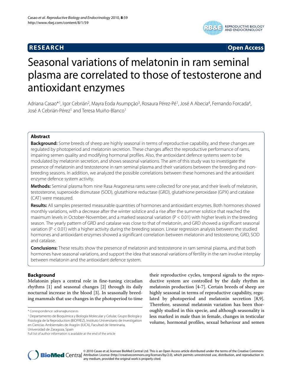 Seasonal variations of melatonin in ram seminal plasma are