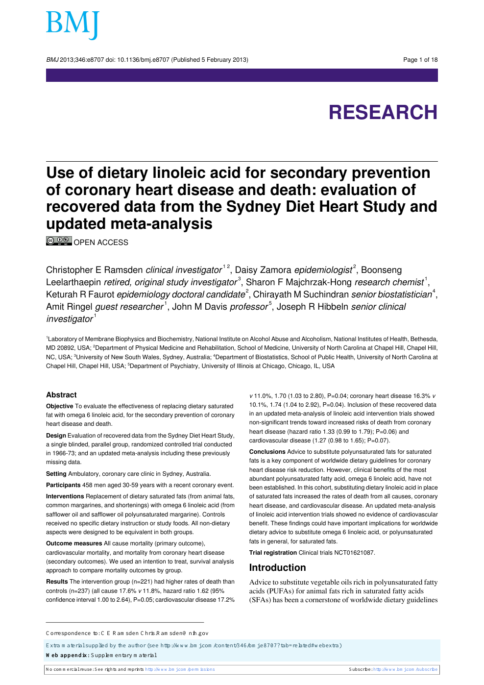 sydney diet heart study