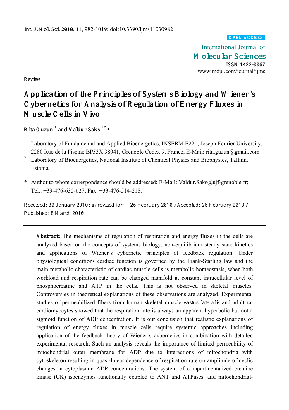 Application Of The Principles Of Systems Biology And Wiener S