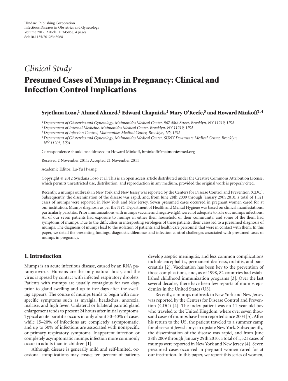 Presumed Cases of Mumps in Pregnancy: Clinical and Infection