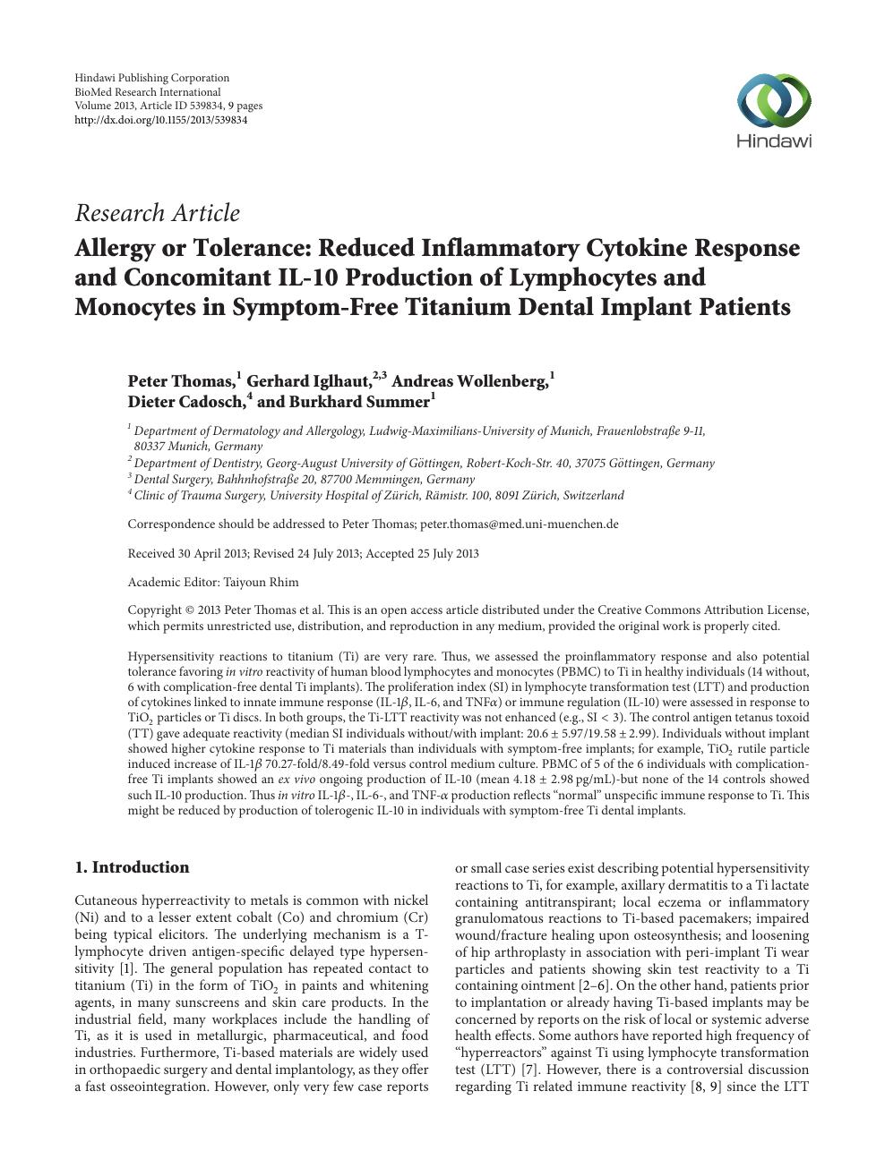Allergy or Tolerance: Reduced Inflammatory Cytokine Response