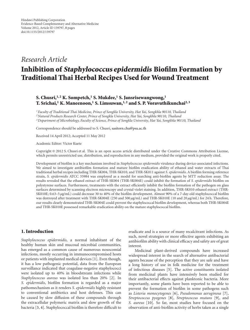 Inhibition of Staphylococcus epidermidis Biofilm Formation by