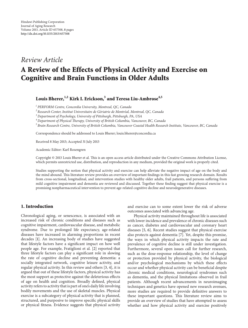 A Review of the Effects of Physical Activity and Exercise on