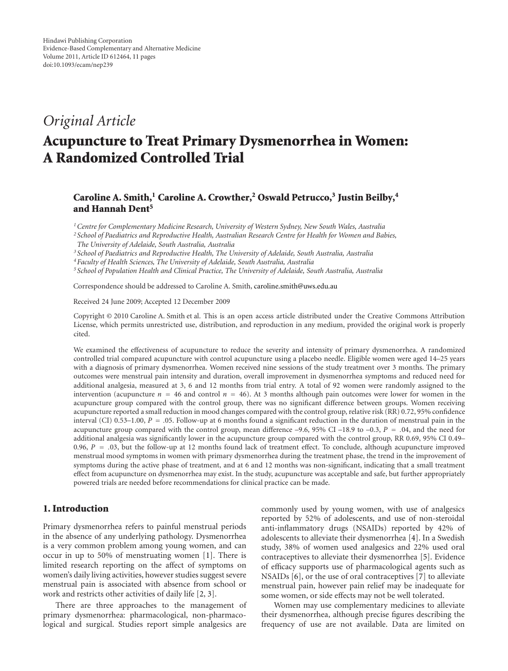 Acupuncture to Treat Primary Dysmenorrhea in Women: A