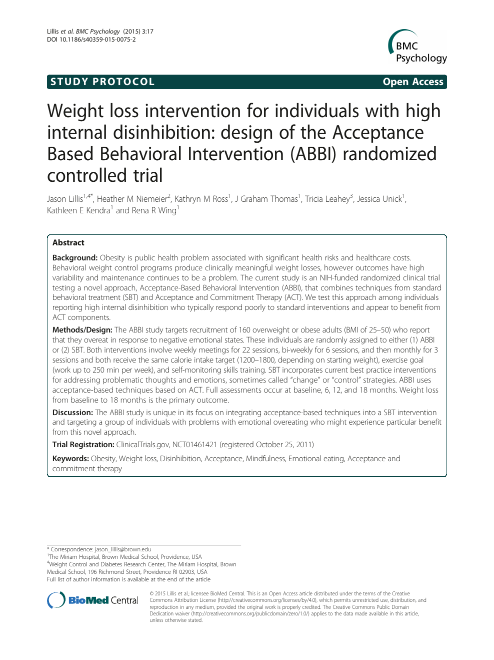 Weight loss intervention for individuals with high internal