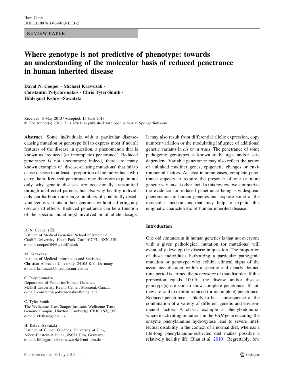 Where genotype is not predictive of phenotype: towards an