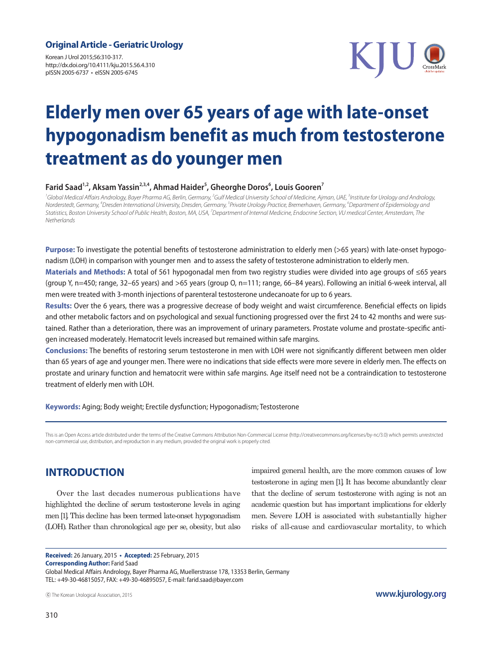 Elderly men over 65 years of age with late-onset
